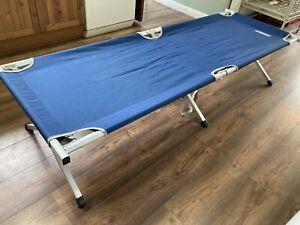 Highlander Single Camp Travel Bed Blue Foldaway Camper Caravan Tent Holiday #L