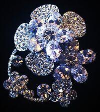 BROOCH PIN Using Swarovski Crystal Gemstone Wedding Bridal Silver Flower
