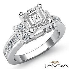 Brilliant Asscher Diamond Channel Set Engagement Ring GIA I VS2 Platinum 2 ct