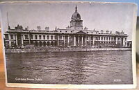 Vintage Postcard Glossy Halftone Customs House Dublin Ireland River Liffey Wagon