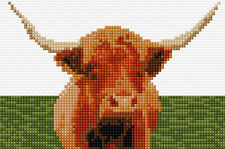"Highland Cow - Scottish Animal Mini Cross Stitch Kit 6"" x 4"" - 14 Count Aida"