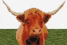 "Highland Cow - Scottish Animal Mini Cross Stitch Kit 6"" x 4"" - 14 Count Aida"