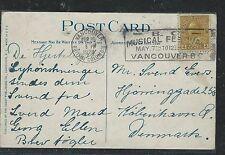 CANADA (PP1806B) 1928 KGV 4C ON PPC TO DENMARK SLOGAN BC MUSIC FESTIVAL