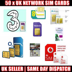 50 x UK Network Sim Cards O2 EE Vodafone Three Lyca Lebara Giffgaff Bulk lot