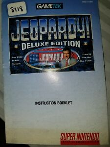 super nintendo Jeopardy deluxe edition instruction manual
