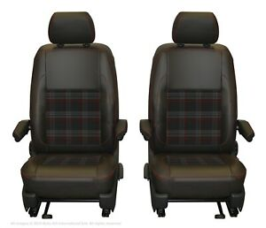 VW Transporter T6.1,T6,T5.1 Front INKA Tailored Seat Cover Black Red Leatherette
