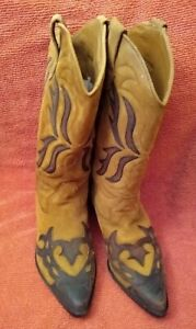 Western boots, FLINGS Sundance, tan suede & brown leather, vintage - Size 7.5