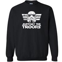173 Support the Troops Crew Sweatshirt storm trooper star geek nerd wars jedi