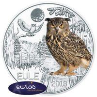 Pièce 3 euros commémorative AUTRICHE 2018 - Le Hibou - Pièce phosphorescente