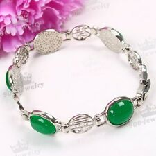 GREEN JADE STONE OVAL BEADS BRACELET BANGLE AMULET 7in