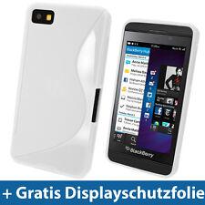 Weiß Zweiton TPU Gel Tasche Hülle für BlackBerry Z10 Smartphone