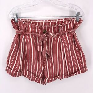 American Eagle Women's Size 8 Red Paper Bag Waist Summer Shorts - Linen / Cotton