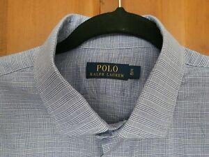 "Polo Ralph Lauren mens shirt long sleeve lilac check 17"" collar fab item"