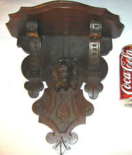 ANTIQUE PRIMITIVE BLACK FOREST CARVED WOOD LION HEAD SCULPTURE STATUE WALL SHELF
