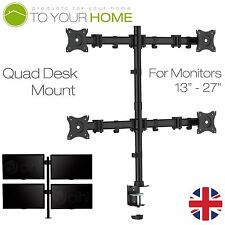 "Quad Four Arm Desk Mount Bracket LCD Computer Monitor Stand 13""-27"" Screen TV"