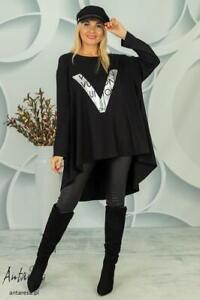 New Ladies Women Italian Leganlook V Printed Casual Top Dress Shirt Size 10-22