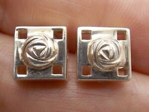 Sterling silver square stud earrings by Kit Heat Mackintosh Glasgow Rose design