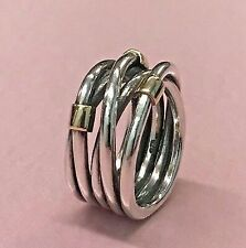 PANDORA | 14k Gold Sterling Silver Rope Ring 190383 Retired RARE 925 Ale