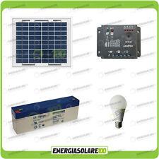 Kit illuminazione interni esterni pannello solare 5W lampada LED 7W 12V 1 ora au