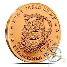 1 OZ .999 Fine Copper Don't Tread On Me - Eternal Vigilance Bullion Round - Coin