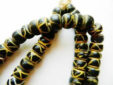 African Trade Beads Strand~ Rattlesnake Yellow/ Black-82 BEADS~Museum Quality