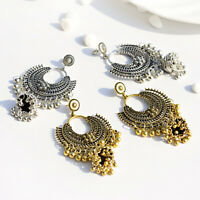 Jewelry Indian Oxidized Gold Silver Colored Beads Jhumka Fashion Earrings Girls