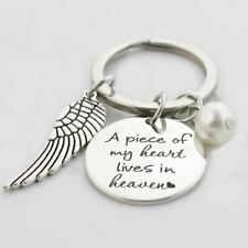 925 Silver Plt 'a Piece of My Heart Lives in Heaven' Engraved Keyring Loss a