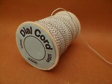 100 M.  DIAL CORD  0.6 mm Dia.  Superior Grade Non Stretch   White / Black Trace