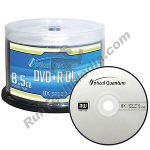 50 Optical Quantum 8x 8.5GB DVD+R DL Double Layer Logo Top Discs OQDPRDL08LT
