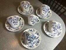 J & G MEAKIN England CLASSIC Blue Nordic Blue Onion 6 CUPS & 5 SAUCERS