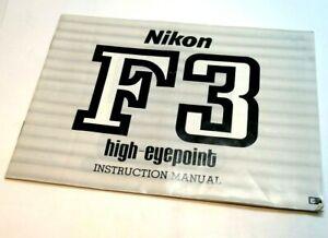 Nikon F3 HP High Eyepoint  camera Manual Instruction Guide English EN