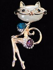 MOON STONE SMART LOOKING PLAY BOY SASSY DIVA CAT KITTEN BROOCH PIN JEWELRY 2.5""