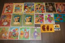 LOT 18 VINTAGE 80s 90s WOODEN WOOD PUZZLES GOLDEN FRAME TRAY BARNEY DISNEY ALF