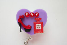 PERSONALIZED CLASSY PERFUME & SHOE NURSE MEDICAL DOCTOR VET OFFICE BADGE HOLDER