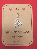 Valentines Gift For Him Her Personalised Key ring Clip Charm Pizza Saccos