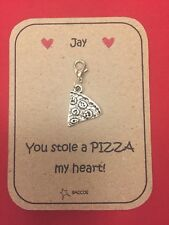 Gift for Him Her Personalised Key Ring Clip Charm Pizza Saccos
