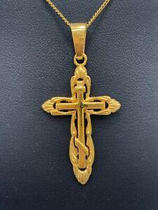 9ct 9k Yellow Gold Russian Orthodox Crucifix Cross Pendant 4.5 Grams. Brand New