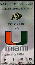 College Football Ticket Colorado 2005 - 9/24 - Miami Hurricanes Frank Gore