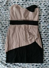 Womens TFNC Size 12 Bodycon Dress Black and Nude. Cotton. Zip Backed.