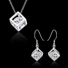 New 925Sterling Solid Silver Crystal Square Earrings Necklace Jewelry Sets S813