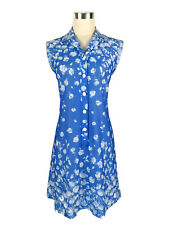 Vintage Dress - Blue White Floral Collar Button Sleeveless Stretch Retro - 8/10