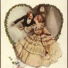 """UNDUE HASTE"" ROMANTIC COUPLE KISS BY GRANDFATHER CLOCK,H. FIISHER OLD POSTCARD"