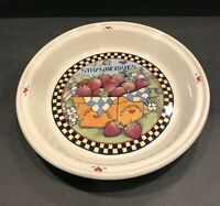 """Susan Winget Strawberry 10"""" Across Deep Dish Pie Plate Country Vintage 1993"""