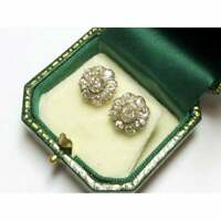 1.60 Ct Round Diamond Halo Stud Earrings 14K Tow Tone Gold Over Christmas Gift