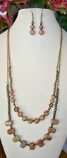 REAL PRETTY AUTUMN JASPER DOUBLE STRAND HANDMADE NECKLACE with EARRINGS