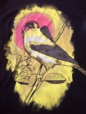 "Design by Humans Gold Finch Bird w Headphones Black 100% Cotton T-Shirt M 38"""