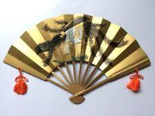 "Japanese Wall Fan Gold Phoenix Bird Vintage Decor Lucky Sign Traditional W.16.5"""