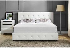 Queen Size Bed Frame White Tufted Upholstered Bedroom Furniture Headboard