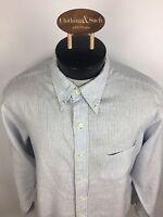 Brooks Brothers Mens Sz L Long Sleeve Dress Shirt Blue Stripe Linen