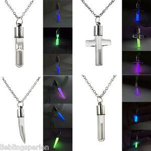 LP Silber Halskette Halsschmuck Anhänger Kette Nachtleuchtend Glas Farben M11883